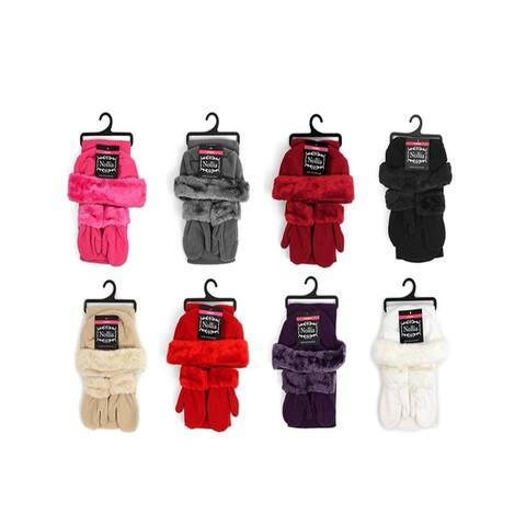 Toddler's 2-5 Black Faux Fur Trimmed Mittens & Scarf Winter Set - Regular