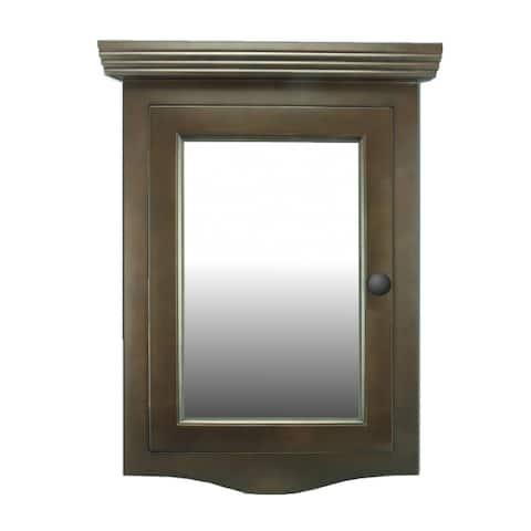 Easy Clean Mirror Medicine Cabinet Organizer Corner Shelves Dark Brown Oak Hardwood Wall Mount Recessed Renovators Supply