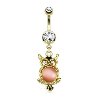 Cat's Eye Gemmed Owl Dangle gold-plated Navel Belly Button Ring
