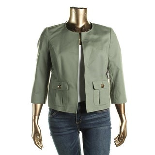 Vince Camuto Womens Open-Front Blazer Pockets Three-Quarter Sleeves