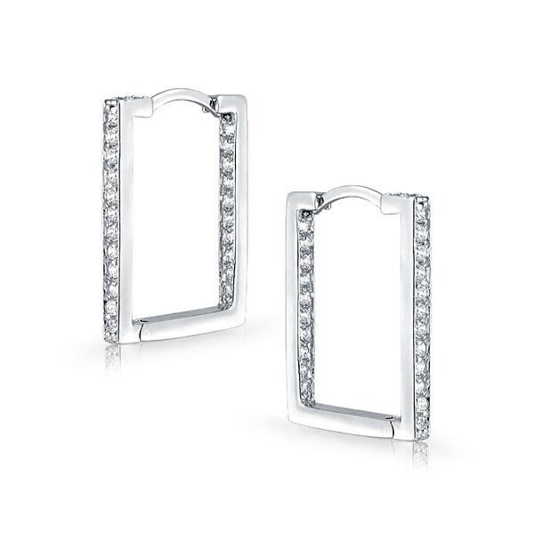 925 Sterling Silver CZ Hoop Earrings