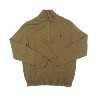 Polo Ralph Lauren Mens Mock Turtleneck Sweater 1/4 Zip Heathered