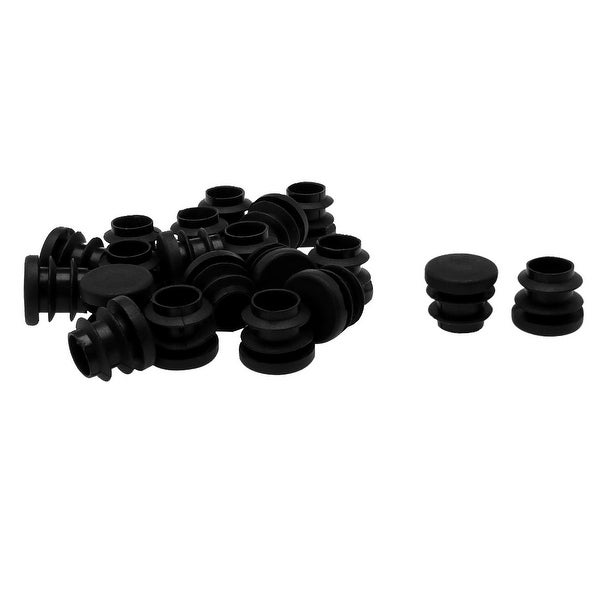 """5/8"""" 16mm OD Plastic Round Tube Ribbed Inserts End Cover Caps 20pcs, 0.51""""-0.6"""" Inner Dia, Floor Furniture Chair Desk Protector"""