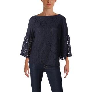 Lauren Ralph Lauren Womens Blouse Lace Overlay Bell Sleeves