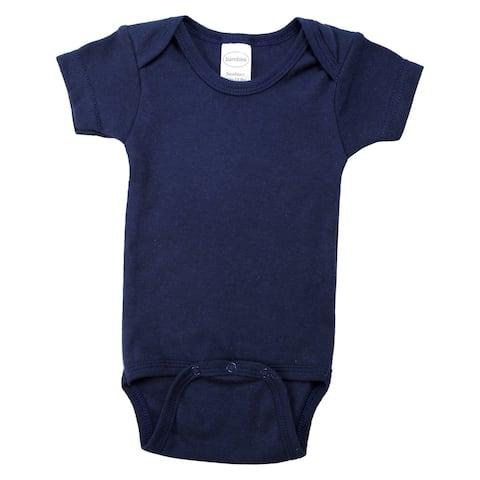 "6"" Navy Blue Large Interlock Short Sleeve Bodysuit Onesies for 12 to 18 Months"