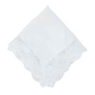 CTM® Women's Bridal Dress Lace and Linen Handkerchief - one size