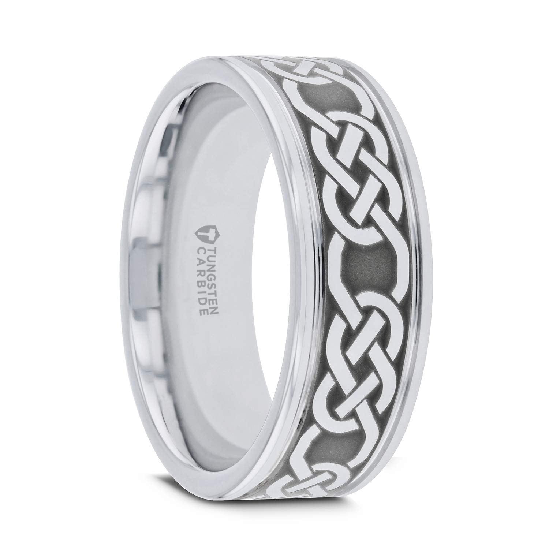 Tungsten Wedding Rings.Thorsten Palatine Tungsten Rings For Men Tungsten Comfort Fit Celtic Pattern Laser Engraved Tungsten Wedding Band 10mm