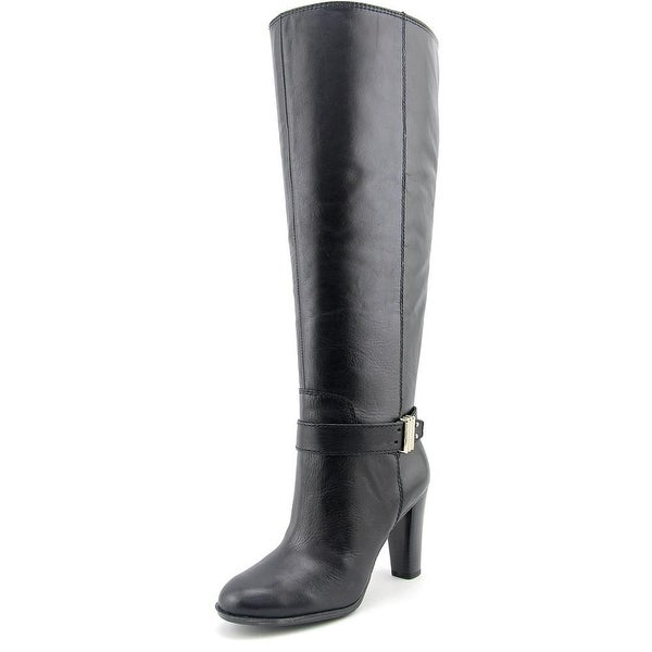 Enzo Angiolini Sumilo Wide Calf Women Round Toe Leather Black Knee High Boot