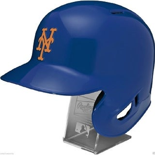 NY New York Mets Rawlings Full Size Batting Helmet Left Ear Flap with Display stand