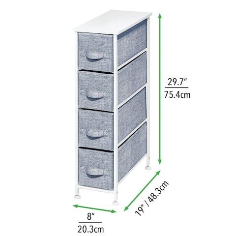 mDesign Narrow Dresser Storage Organizer Tower, 4 Drawers