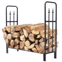 Costway 4 Feet Outdoor Heavy Duty Steel Firewood Log Rack Wood Storage Holder Black