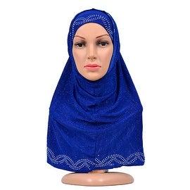 Muslim Zircon Scarf Kerchief Hat blue