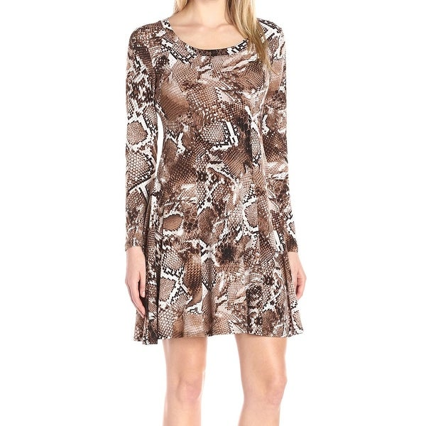 e27b4cf2b7 Shop Karen Kane NEW Brown Womens Size Large L Snake-Print Knit A-Line Dress  - Free Shipping On Orders Over  45 - Overstock - 20269703