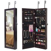 Costway Lockable Wall Mount Mirrored Jewelry Cabinet Organizer Armoire w/ LED Lights