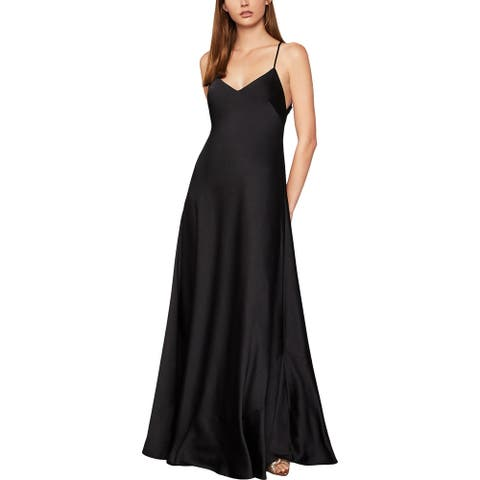 BCBG Max Azria Women's Satin Open Back Strappy A-Line Sleeveless Gown