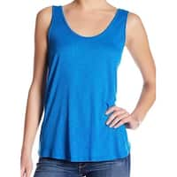 Lush NEW Blue Womens Size Large L Scoop-Neck Sheer Open-Back Tank Top 975