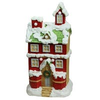 "21.25"" Christmas Morning Pre-Lit LED Snow Covered 2 Story House Musical Christmas Tabletop Figure"