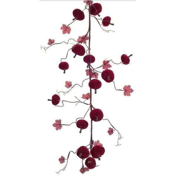 """Pack of 2 Holiday Decorative Indoor Red Velvet Pumpkins Leaves Dangling Garland 53""""L"""