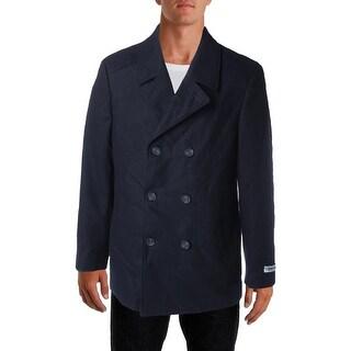 DKNY Mens Danby Wool Blend Slim Fit Pea Coat - 42R