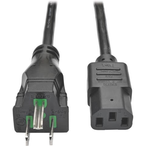 Tripp lite p006-025-hg15 25ft computer power cord hospital medical cable 5-15p to c13 15a 14awg - Black