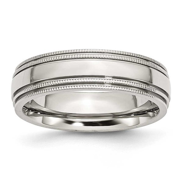Stainless Steel Grooved and Beaded 6mm Polished Band