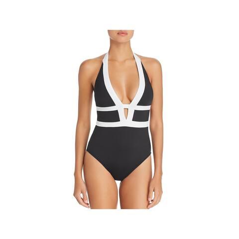 La Blanca Womens Modern Muse Halter Plunge One-Piece Swimsuit
