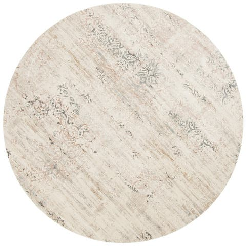 """Alexander Home Augustus Persian Inspired Distressed Area Rug - 9'3"""" x 9'3"""" Round"""