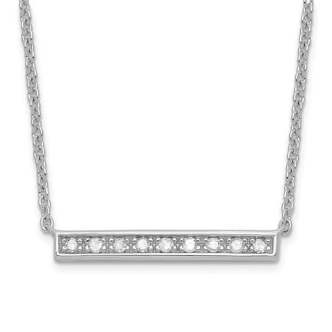 Sterling Silver High Polished Diamond Bar Necklace by Versil
