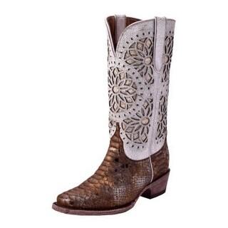 Ferrini Western Boot Women Python Print Flower Cutouts Bronze 94571-33