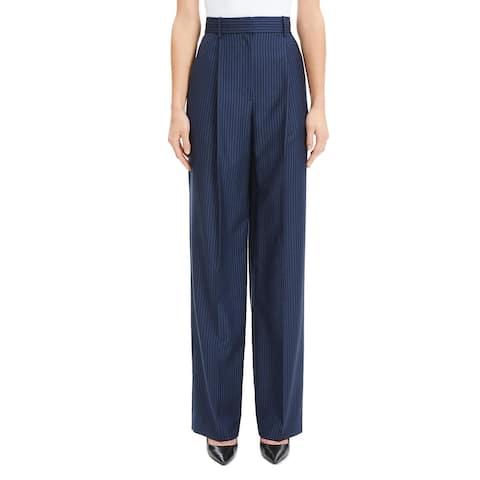 Theory Womens Dress Pants Striped High Rise - Navy Sapphire Stripe - 00