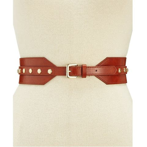 INC International Concepts Women's Domed Stud Stretch Belt Cognac Size Small/Medium - Brown - Small