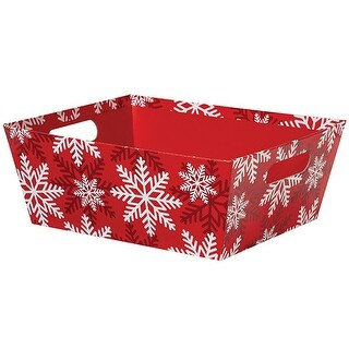 """Pack Of 3, Solid Red White Snowflake X-Large Trays Wide Base 8 X 10"""" X 4.5"""" For Gourmet Gift Baskets, Food Baskets"""