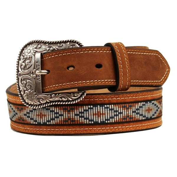 Ariat Western Belt Mens Leather Conchos Inlay Natural