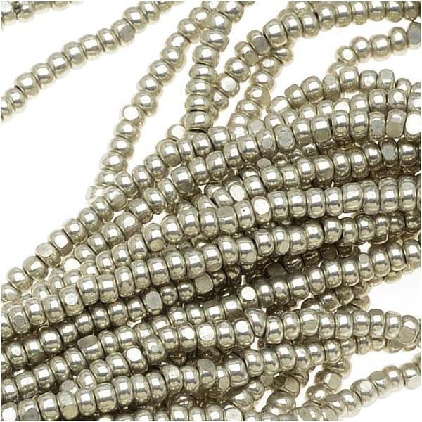 Czech Single Cut Charlotte Seed Beads 13/0 Metallic Grey Terra 1/2 Hank. Opens flyout.