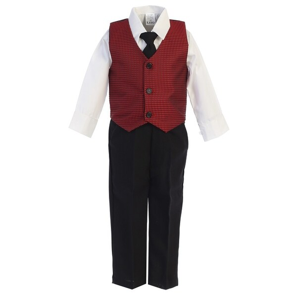 5787e4149 Lito Little Boys Red Black Jacquard Vest Shirt Tie Pant Festive 4 Pc Set