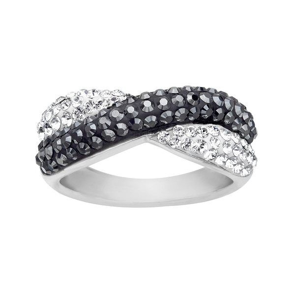 9d0fb072a1f5 Shop Crystaluxe Criss-Cross Band Ring with Swarovski Elements Crystals in  Sterling Silver - Black - Free Shipping On Orders Over  45 - Overstock -  13886361