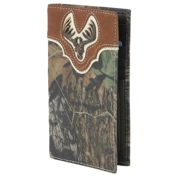 Nocona Western Wallet Mens Rodeo Deer Buck Skull Brown - One size