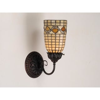 """Meyda Tiffany 74052 5"""" Wide Single Light Wall Sconce with Stained Glass Shade"""