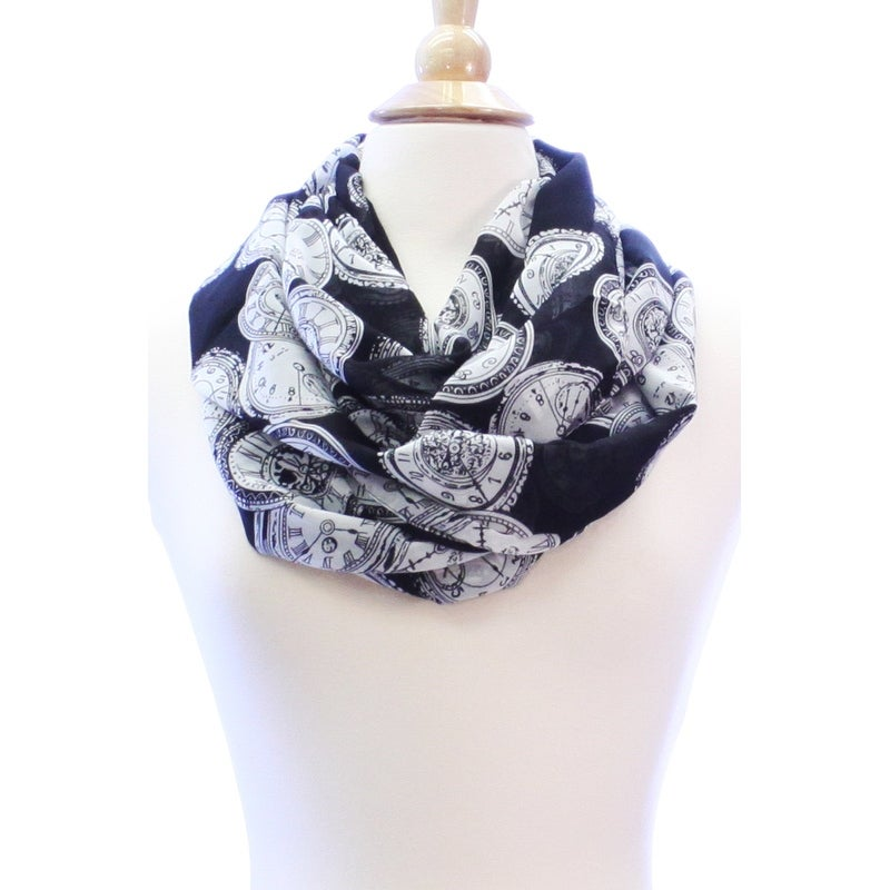 518a81ac6a268 Shop Vintage Clock Wide Silk Blend Lightweight Infinity Scarf - On Sale -  Free Shipping On Orders Over $45 - Overstock - 12090803