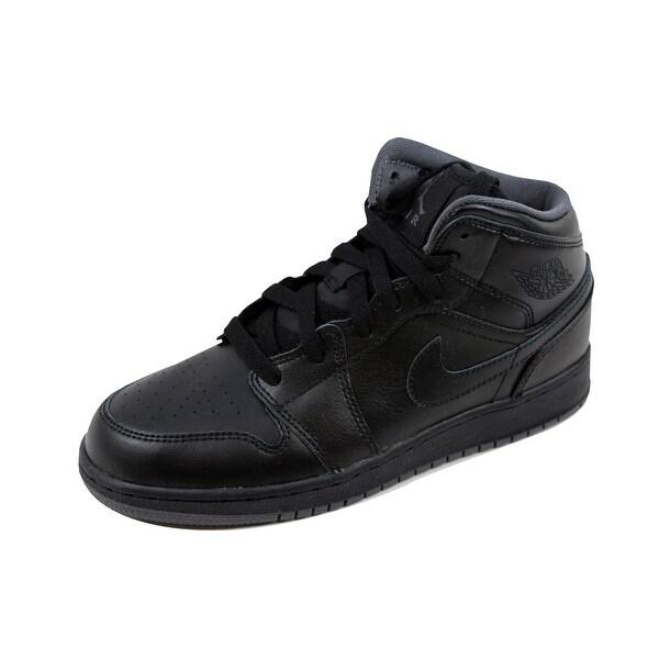 5e48087c80f1 Nike Grade-School Air Jordan I 1 Mid BG Obsidian Metallic Silver-Cool