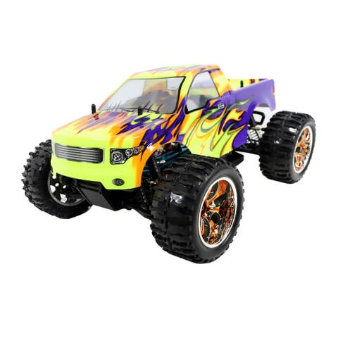 ALEKO Off-Road 4WD Electric 1:10 Scale RC Truck Purple/Yellow Flame Design - 16.5 x 12 x 7.8 inches