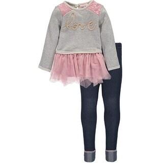 Little Lass Toddler Girls 2T-4T Sequin Love Legging Set
