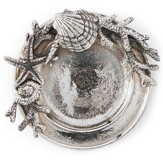 Scallop Shells Coral Starfish Coastal Wine Bottle Coaster Silver Metal