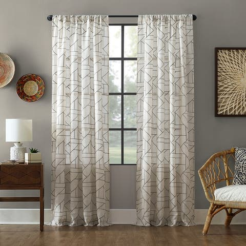 Archaeo Jigsaw Embroidery Linen Blend Curtain