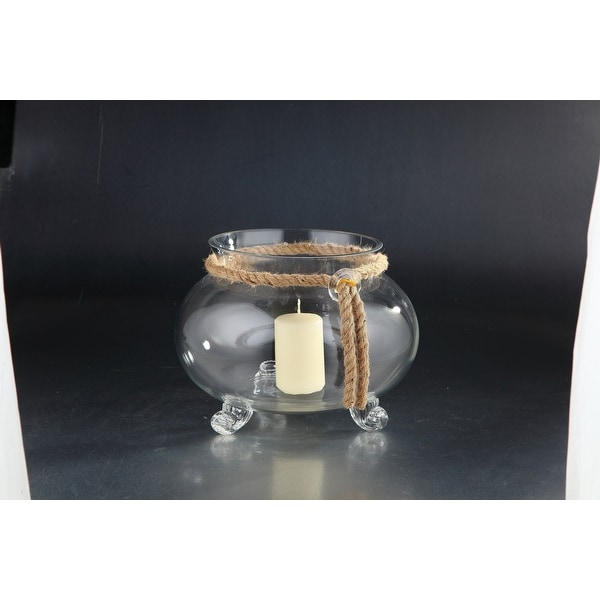 "11.5"" Clear Solid Hurricane Candle Holder with Jute Rope - N/A"