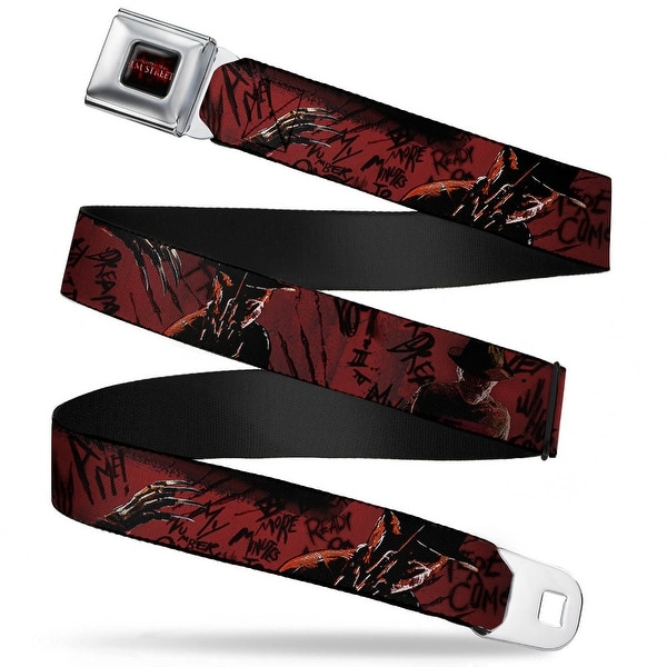 A Nightmare On Elm Street Logo Full Color Black Reds Freddy 4 Poses Quote Seatbelt Belt