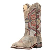 Laredo Western Boots Womens Scout Aztec Square Toe Stockman Brown