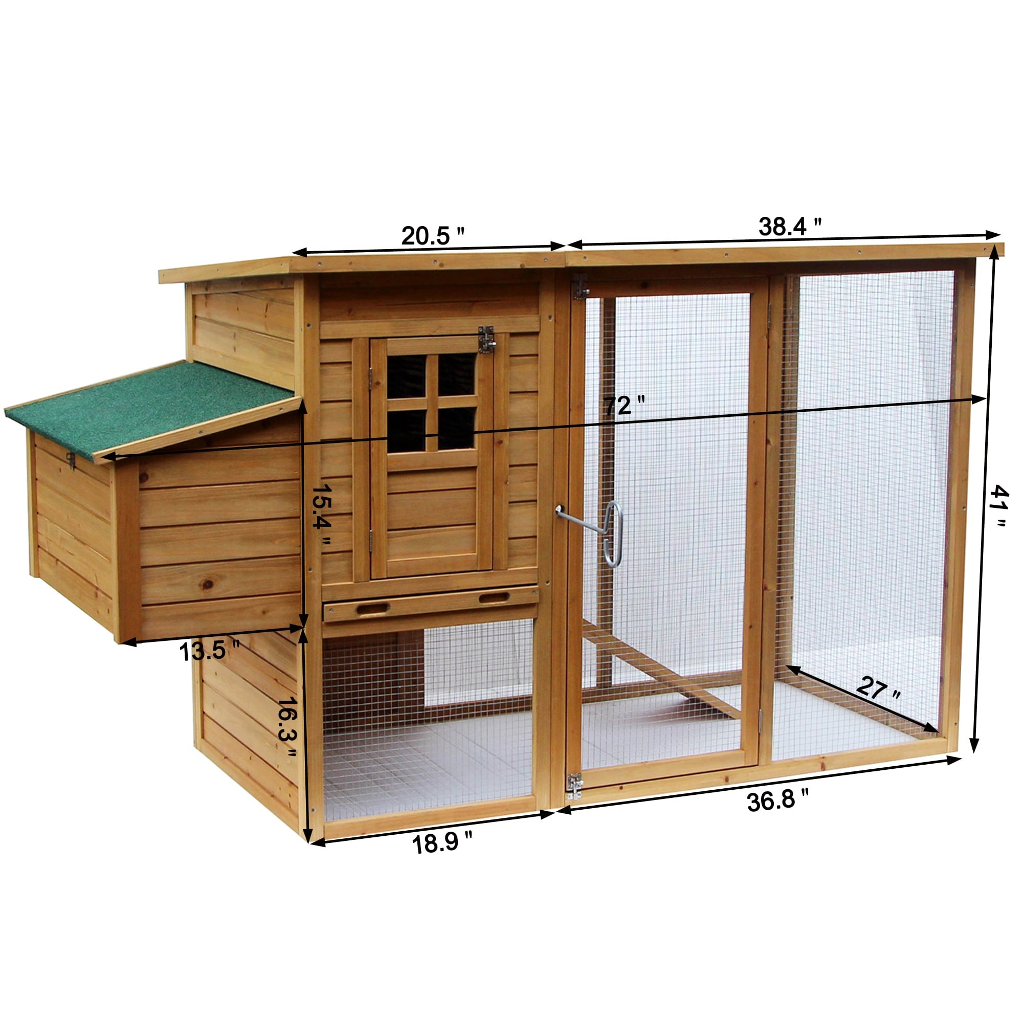 """41/"""" Wooden Rabbit Hutch Chicken Coop Cage Hen House Pet Poultry Animal Backyard"""