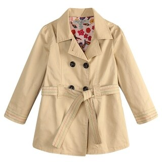 Richie House Little Girls Cream Floral Lining Fabric Trench Coat 2-7