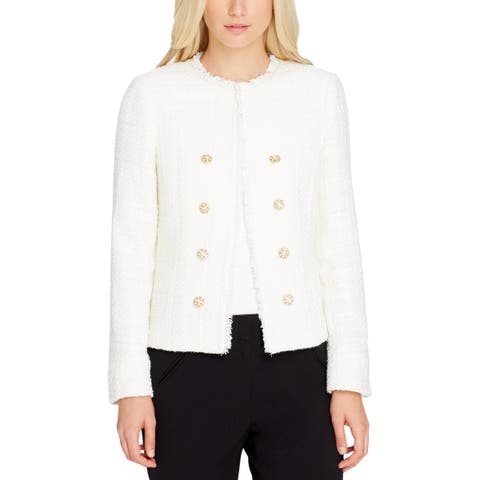 Tahari ASL Womens Petites Double-Breasted Blazer Boucle Glitter